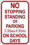 No stopping standing parking sign